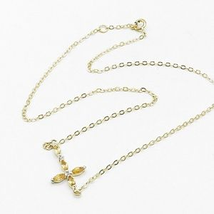 gold and silver genuine diamond cross necklace